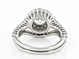 White Cubic Zirconia Rhodium Over Sterling Silver Ring With Band 3.60ctw