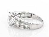 White Cubic Zirconia Rhodium Over Sterling Silver Ring 6.27ctw