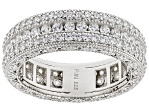 White Cubic Zirconia Rhodium Over Sterling Silver Band Ring 3.53ctw