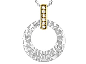 White Cubic Zirconia Rhodium And 14K Yellow Gold Over Sterling Silver Pendant With Chain 0.08ctw