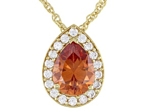 Champagne And White Cubic Zirconia 18K Yellow Gold Over Sterling Silver Pendant With Chain 4.00ctw