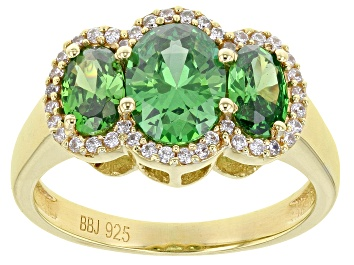 Picture of Green And White Cubic Zirconia 18K Yellow Gold Over Sterling Silver Ring 3.68ctw