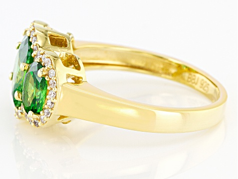 Green And White Cubic Zirconia 18K Yellow Gold Over Sterling Silver Ring 3.68ctw