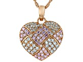Pink And White Cubic Zirconia 18K Rose Gold Over Sterling Silver Heart Pendant With Chain 2.20ctw