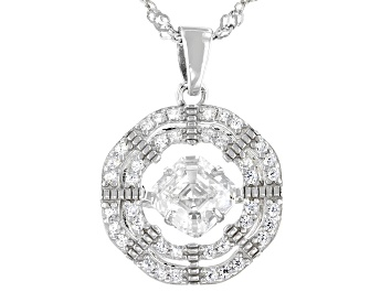 Picture of White Cubic Zirconia Rhodium Over Sterling Silver Dancing Asscher Cut Pendant With Chain 1.62ctw