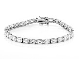 White Cubic Zirconia Platinum Over Sterling Silver Tennis Bracelet 24.04ctw