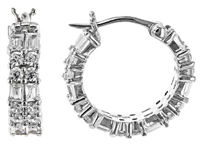 White Cubic Zirconia Rhodium Over Sterling Silver Hoop Earrings 2.39ctw