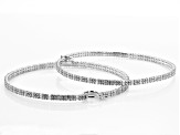 White Cubic Zirconia Rhodium Over Sterling Silver Hoop Earrings 17.95ctw