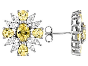 Yellow And White Cubic Zirconia Rhodium Over Sterling Silver Earrings 10.21ctw