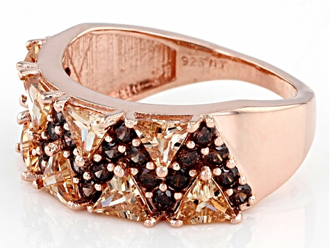 Champagne And Mocha Cubic Zirconia 18K Rose Gold Over Sterling Silver Ring 4.19ctw