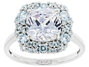 White And Blue Cubic Zirconia Rhodium Over Sterling Silver Ring 9.33ctw