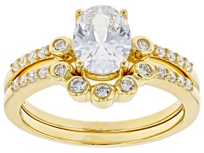 White Cubic Zirconia 18K Yellow Gold Over Sterling Silver Ring With Band 2.62ctw