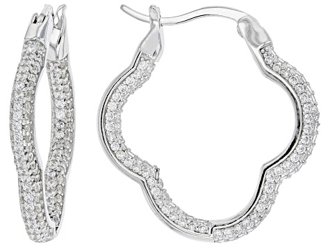 White Cubic Zirconia Rhodium Over Sterling Silver Earring Set 3.99ctw