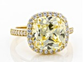 Canary And White Cubic Zirconia 18K Yellow Gold Over Sterling Silver Ring 11.13ctw