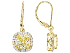 Yellow And White Cubic Zirconia 18K Yellow Gold Over Sterling Silver Earrings 8.79ctw