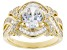 White Cubic Zirconia 18K Yellow Gold Over Sterling Silver Ring 4.93ctw