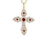 Lab Created Ruby And White Cubic Zirconia 18K Yellow Gold Over Silver Cross Pendant With Chain