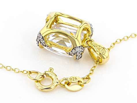 White Cubic Zirconia 18K Yellow Gold Over Sterling Silver Pendant With Chain 12.21ctw