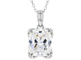 White Cubic Zirconia Platinum Over Sterling Silver Pendant With Chain 12.21ctw