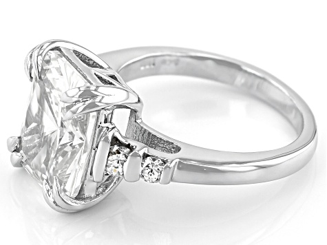 White Cubic Zirconia Rhodium Over Sterling Silver Ring 10.55ctw