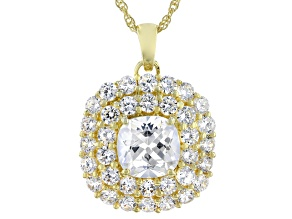 White Cubic Zirconia 18K Yellow Gold Over Sterling Silver Pendant With Chain 11.00ctw