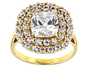 White Cubic Zirconia 18K Yellow Gold Over Sterling Silver Ring 7.15ctw
