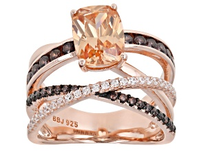 Champagne, Mocha, And White Cubic Zirconia 18K Rose Gold Over Sterling Silver Ring 4.83ctw