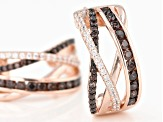 Mocha And White Cubic Zirconia 18K Rose Gold Over Sterling Silver Earrings 2.01ctw