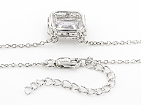 White Cubic Zirconia Rhodium Over Sterling Silver Necklace 6.49ctw