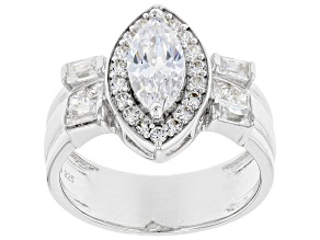 White Cubic Zirconia Rhodium Over Sterling Silver Ring 3.70ctw