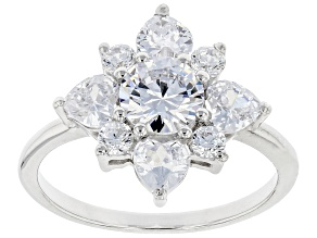 White Cubic Zirconia Rhodium Over Sterling Silver Ring 3.95ctw