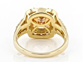 Champagne And White Cubic Zirconia 18K Yellow Gold Over Sterling Silver Ring 8.51ctw