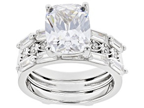 White Cubic Zirconia Rhodium Over Sterling Silver Ring With Guard 7.32ctw