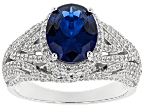 Lab Created Blue Spinel And White Cubic Zirconia Rhodium Over Sterling Silver Ring 5.53ctw