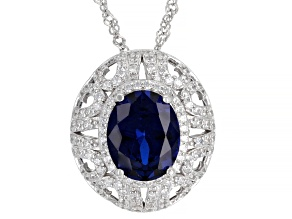 Lab Created Blue Spinel And White Cubic Zirconia Rhodium Over Silver Pendant With Chain 4.57ctw