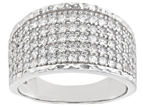 White Cubic Zirconia Rhodium Over Sterling Silver Ring 1.96ctw