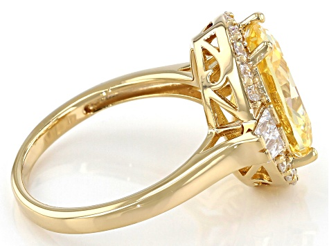 Yellow And White Cubic Zirconia 18K Yellow Gold Over Sterling Silver Ring 9.05ctw