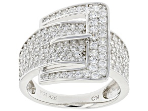 White Cubic Zirconia Rhodium Over Sterling Silver Buckle Ring 1.82ctw