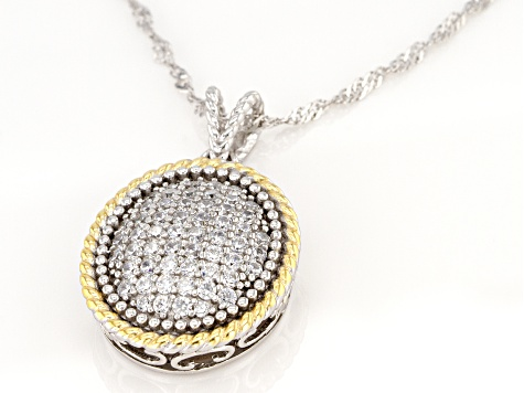 White Cubic Zirconia Rhodium And 14K Yellow Gold Over Sterling Silver Pendant With Chain 1.25ctw