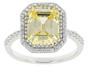 Yellow And White Cubic Zirconia Rhodium Over Sterling Silver Ring 6.06ctw