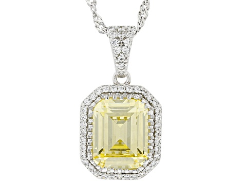 Yellow and White Cubic Zirconia Rhodium Over Sterling Silver Pendant With Chain 6.88ctw.