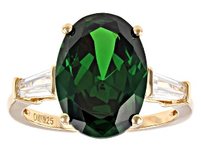 Green And White Cubic Zirconia 18K Yellow Gold Over Sterling Silver Ring 10.77ctw