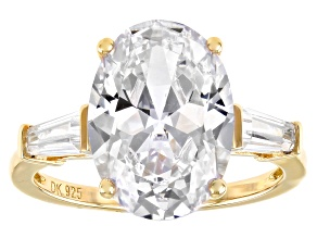 White Cubic Zirconia 18k Yellow Gold Over Sterling Silver Ring 10.77ctw