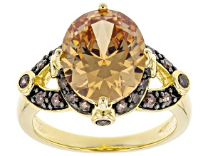 Champagne And Mocha Cubic Zirconia 18K Yellow Gold Over Sterling Silver Ring 9.69ctw