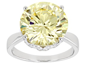Yellow And White Cubic Zirconia Rhodium Over Sterling Silver Ring 15.10ctw