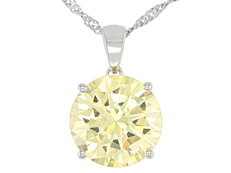 Yellow And White Cubic Zirconia Rhodium Over Sterling Silver Pendant With Chain 15.10ctw