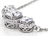 White Cubic Zirconia Rhodium Over Sterling Silver Necklace 6.60ctw