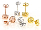 White Cubic Zirconia Rhodium And 18K Yellow And Rose Gold Over Sterling Silver Earrings 4.74ctw