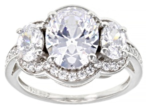 White Cubic Zirconia Platinum Over Sterling Silver Ring 6.00ctw