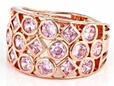 Pink Cubic Zirconia 18K Rose Gold Over Sterling Silver Ring 3.86ctw